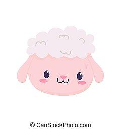 cute sheep face animal cartoon isolated icon