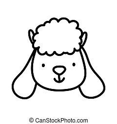 cute sheep face farm animal cartoon thick line