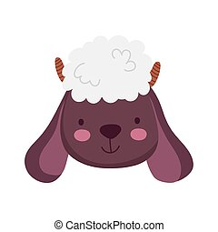 cute sheep face farm animal cartoon