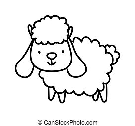 cute sheep farm animal cartoon thick line