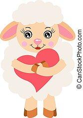 Cute sheep girl holding a heart