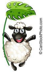 Cute sheep holding big green leaf on white background