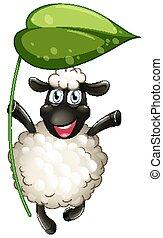 Cute sheep holding green leaf on white background