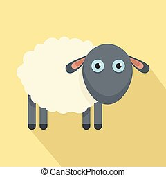 Cute sheep icon, flat style