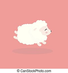 Cute sheep in flat style.