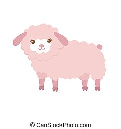 Cute sheep in flat style isolated on white background. Vector illustration. Cartoon sheep.