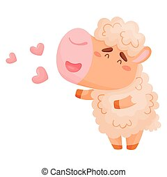 Cute sheep in love. Vector illustration on white background.