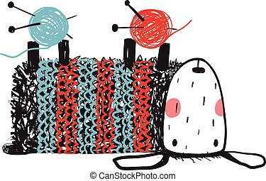 Cute Sheep Knitting Wearing Sweater - Laying upside down...