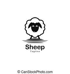 Cute sheep logo vector icon illustration
