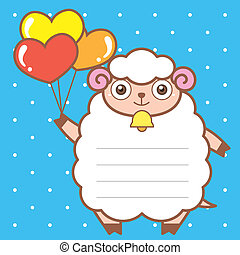 cute sheep of scrapbook background.