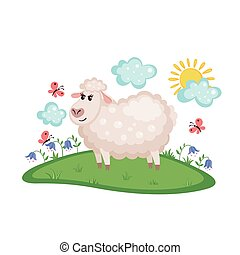 Cute sheep on a meadow.