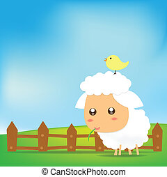 Cute Sheep on green field