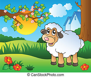 Cute sheep on spring meadow - vector illustration.