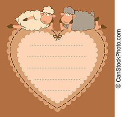 cute sheep on the heart