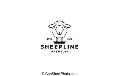 cute sheep or goat line logo design