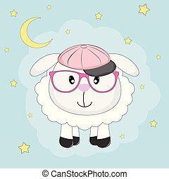 Cute sheep with glasses isolated blue background.