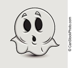 Cute Shocked Cartoon Ghost Emoticon