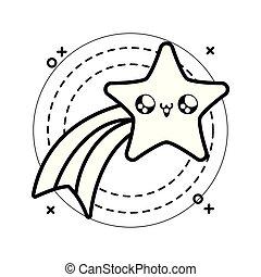 cute shooting star in frame circular kawaii style
