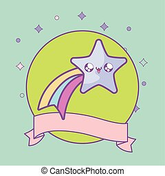 cute shooting star in frame circular with ribbon kawaii style