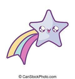 cute shooting star kawaii style