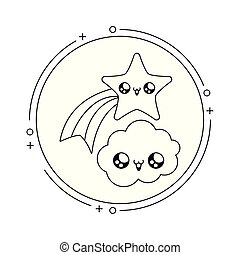cute shooting star with cloud in frame circular kawaii style