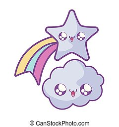 cute shooting star with cloud kawaii style