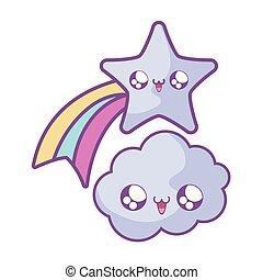 cute shooting star with cloud kawaii style