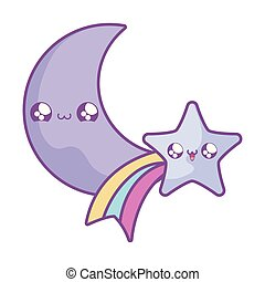 cute shooting star with moon kawaii style