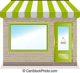Cute shop icon with green awnings brick wall. Illustration.