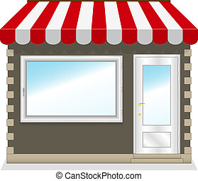 Cute shop icon with red awnings. Illustration.
