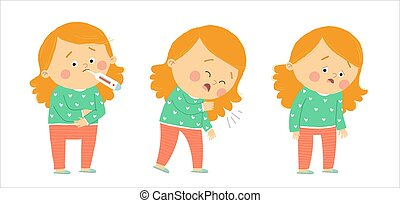 Cute sick girl . Flu symptoms fever, cough, tiredness. Cartoon vector hand drawn eps 10 illustration isolated on white background in a flat style.