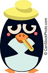 Sick Penguin with Thermometer. Vector Illustration - Cute...
