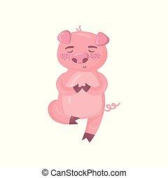 cute, siddende, gulv, mediter, illustration, gris, morsom, mens, vektor, piggy, dyr, cartoon, karakter