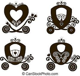 cute, silueta, apartamento, vindima, fairytale, carruagem, real, vetorial, menina, loja, princesa, logotipo, ícone