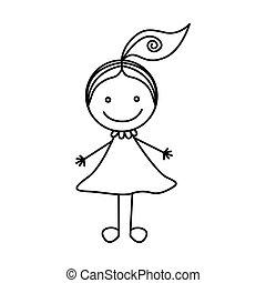 cute, silueta, mão, menina, desenho, rabo-de-cavalo