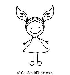 cute, silueta, mão, menina, vestido, desenho