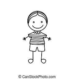 cute, silueta, menino, mão, desenho, ícone