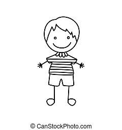 cute, silueta, menino, mão, feliz, desenho, ícone