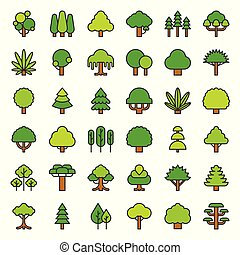 Cute simple tree and plant icon, filled outline design