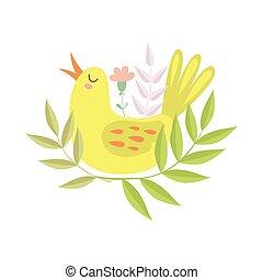 Cute Singing Yellow Bird, Symbol of Spring Vector Illustration