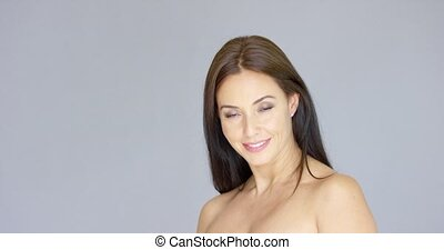Cute single bare shouldered young adult woman - Cute...