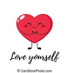 Cute single heart hug itself