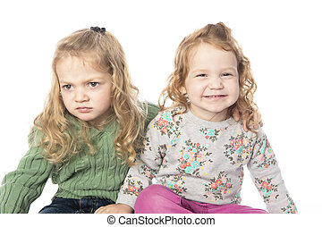 Cute sister Little Girl with redhead in studio white background