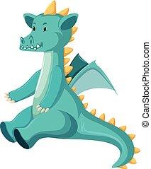 Cute sitting blue dragon