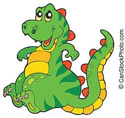 Cute sitting dinosaur - vector illustration.
