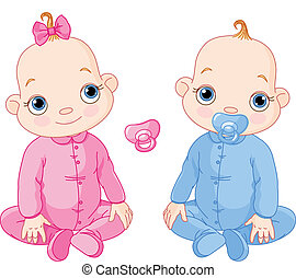 Cute sitting twins - Illustration of Cute sitting twins. You...