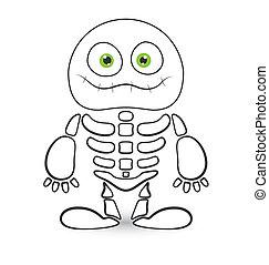Cute Skeleton Monster Vector - Drawing Art of Cute Halloween...