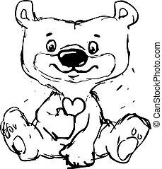 cute sketch bear illustration sitting - vector