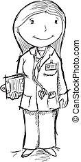 Cute Sketch Doctor Vector