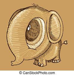 Cute sketch Doodle Elephant Vector